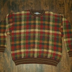 JOS A BANK wool blend checkered sweater ITALY